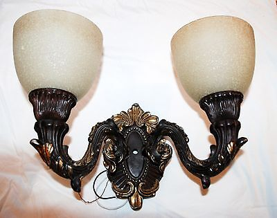 Large Luminaire Double Light Wall Mount Sconce Brown Gold Antique Ornate Style