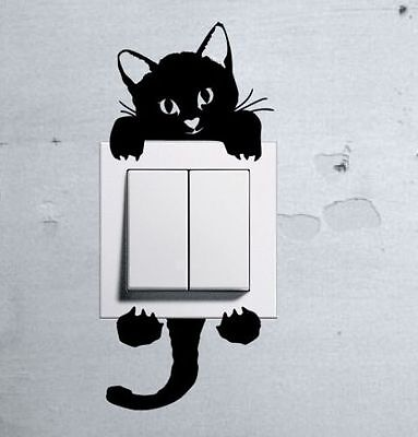Cute Kitty Cat Baby Pet light switch funny wall decal vinyl stickers j