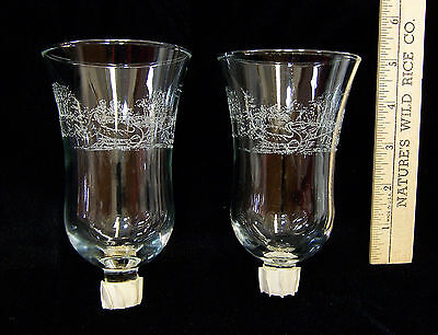Home Interior HOMCO Candle Holder Votive Cups Clear Etched Horse Sleigh Set of 2