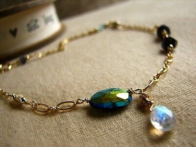 Natural Mystic Labradorite Rainbow Moonstone Toumaline 14K Gold Filled Anklet