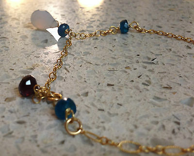 14K Gold Filled Anklet AAA Holy Blue Chalcedony Rock Crystal Quartz Apatit