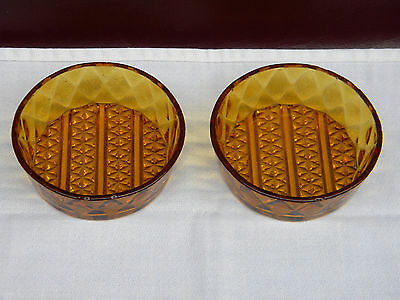 Two Antique EAPG Amber Diamond Quilted  Small Bowls, Relish, Condiments
