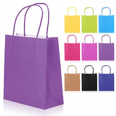 Paper Gift Carrier Bags Kraft +Handles Christmas Birthday Wedding Party Loot Bag