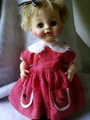 """1964 Horsman12""""Musical Lullaby Baby, Sleep eyes,fully jointed, wet/drink WORKS!"""