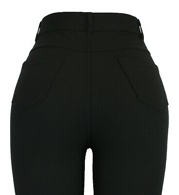 Ladies Womens New Diamante Black  Stretchy Jeans Jeggings Leggings Uk Size 8-20