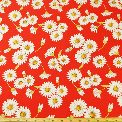 100% Cotton Poplin Fabric John Louden White Daisy Flowers Small Bunches