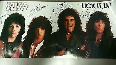 Kiss signed Lick it Up promo poster all 4 members