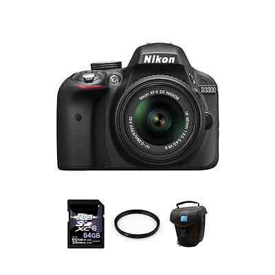 Nikon D3300 DSLR Camera - Black w/18-55mm Lens 64GB Package