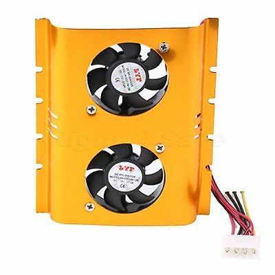 3.5 Inch Hard Driver Disk Dual Cooling Fan HDD Cooler Heatsinks Radiator for PC