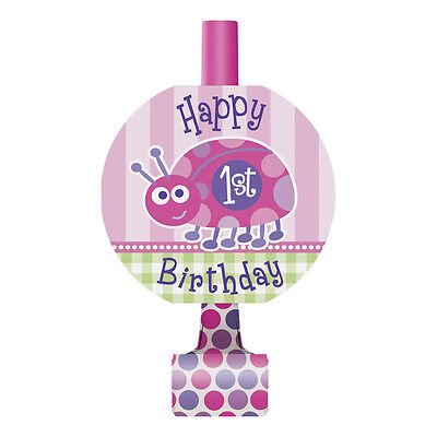 8 Pink Ladybug Girl's Happy 1st Birthday Party Favor Loot Blowouts