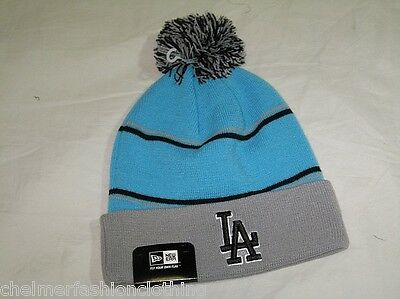 BNWT - NEW ERA Los Angeles Dodgers Striped Bobble Beanie Hat  Vice Blue