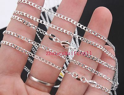 FREE Wholesale Fashion  5pcs 925 Sterling Silver Flat thin Necklace Chains 18""