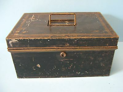 Antique Trinket Box Vintage 1800-1900s Strong Box Fire Box Locking Valuable Box