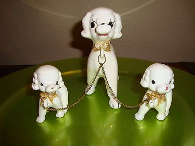 Vintage White Porcelain Poodle Figurine Mom and Puppies on Chains