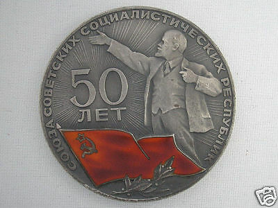 OLD RUSSIAN UNIQUE ART DECO SILVER EXCELLENT TABLE MEDAL LENIN 50 years of USSR