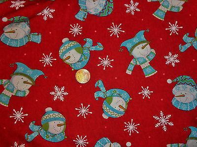 Be Jolly Snowmen on Red BT yard 44 inch wide cotton  Deb Strain FREE US SHIP