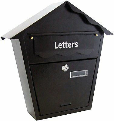 Steel Plated Lockable Black Letter Mail Post Box Wall Mounted Fixings And 2 Keys