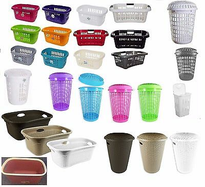 New Plastic Laundry Washing Clothes Storage Bin Hipster Basket Rectangular Round