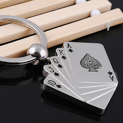New Fashion Ring Keychains Keyfob Gift Pendent Poker Royal Flush Lovely Keyrings