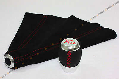 M10 X 1.5 Blk Leather Chrome 6 Speed Shift Knob Red Stitch+ Suede Boot For Honda