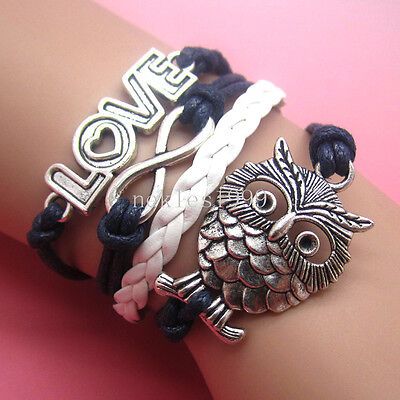 New DIY Hot Infinity LOVE Owl Leather Cute Charm Bracelet plated Silver AD