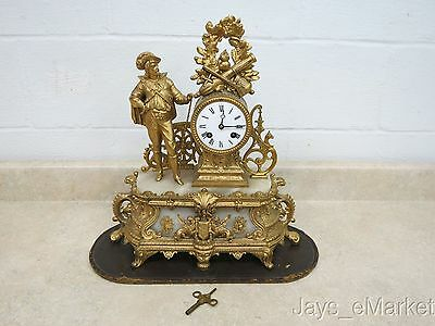 Antique French Very Ornate Gilt & Marble Mantel Clock Excellent & Nice!