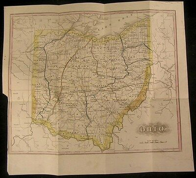 Ohio 1848 scarce folding folio hand color antique map detailed see Howes