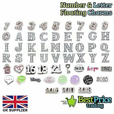 BEST QUALITY Floating Charm For Living Memory Locket *NUMBERS LETTERS AGE A-Z