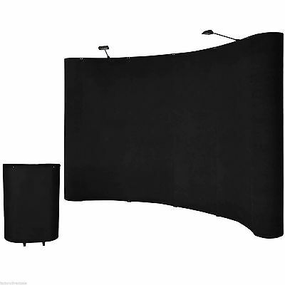 10'Ft Black Portable Display Trade Show Booth Exhibit Pop Up Kit W/Spotlights