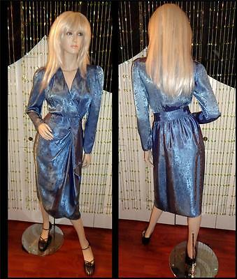 VINTAGE 80'S BLUE SHIMMER SATIN RUFFLE CROSS-OVER WRAP COCKTAIL PARTY DRESS