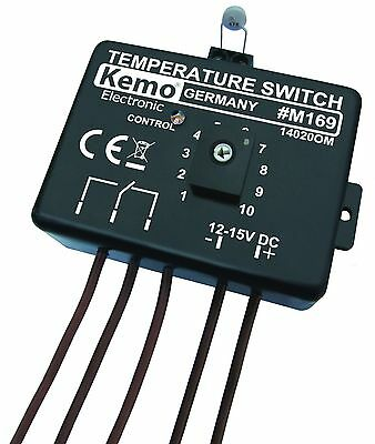 Kemo Temperature Adjustable Electronic Switch Thermostat DC 12V 1m Cable