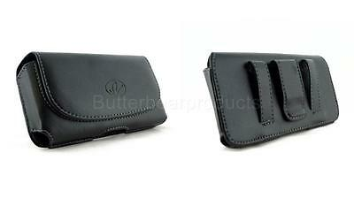 Black Leather Horizontal Pouch Belt Clip Case Cover Blackberry Sanyo Cell Phones