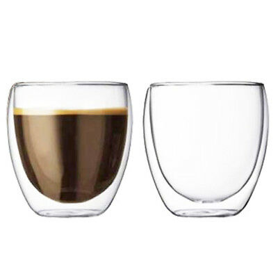Double Walled Coffee Glasses Thermal Shot Tumblers Espresso 2 x 100ml Glass Cups