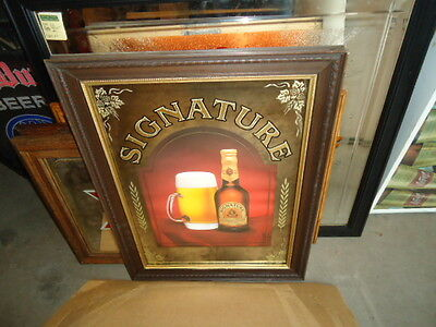 RARE STROH'S STROHS SIGNATURE MIRROR BEER BAR SIGN BEAUTIFUL MINT