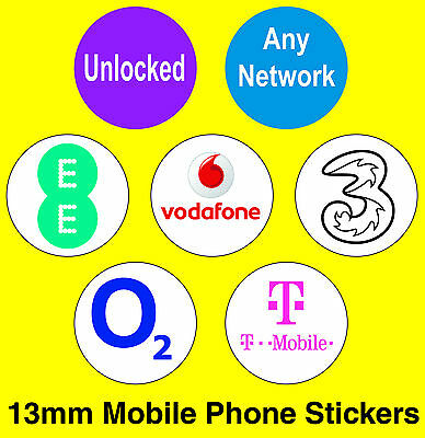 Mobile Phone Network Stickers - EE / Vodafone / T-Mobile / O2 / 3 / Unlocked