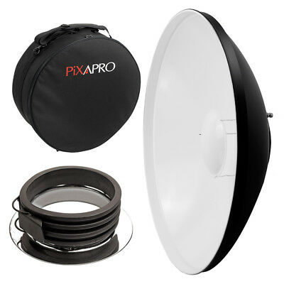 55cm White Studio Beauty Dish Profoto Fitting with Padded Carry Case Rigid Bag