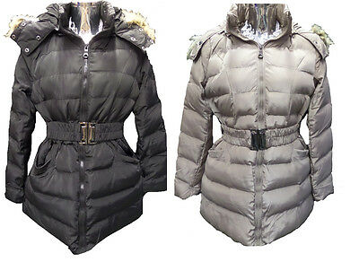 Womens Ladies New Long Winter Quilted Padded Fur Hood Puff Parka/Coat/Jacket