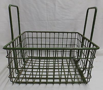 Vintage Small Kelly Green Coated Wire Basket With Handles Old Steampunk 3987-14