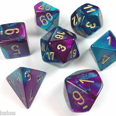 Chessex Dice Poly - Gemini Purple Teal w/ Gold - Set of 7 - 26449 Free Bag! DnD