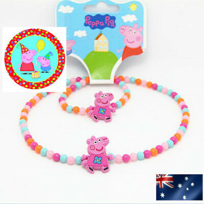 Cute New Girls Peppa Pig Necklace and Bracelet Set