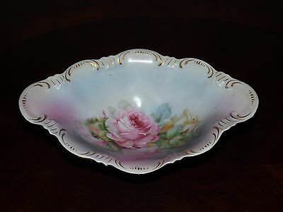 Antique Vienna Austria Eagle China Hand Painted Roses Footed Bowl, Gold Trim