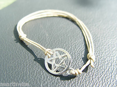 PENTACLE PENTAGRAM BRACELET TIBETAN SILVER & WAX CORD Wicca Witch Pagan Goth
