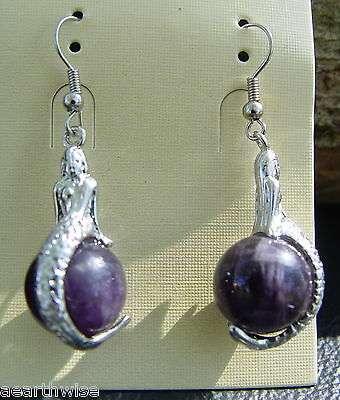 AMETHYST MERMAID GEMSTONE EARRINGS  Wicca Witch Pagan Goth