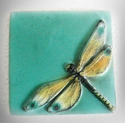 Natalie Surving hand painted wall tile - dragonfly over water  - FREE SHIPPING
