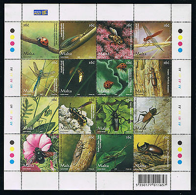 Malta Insects Postage Stamp Sheetlet