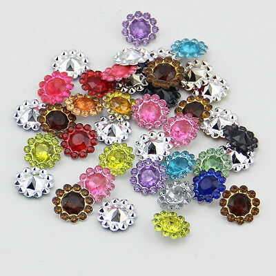 50PCS plastic crystal round sunflowers Scrapbooking craft/Flat back & cone MIX