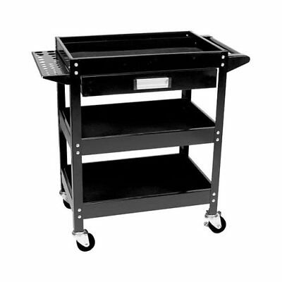Shop Cart Steel 3-Shelf with Drawer 30x18in Shelf 4-Swivel Casters Black