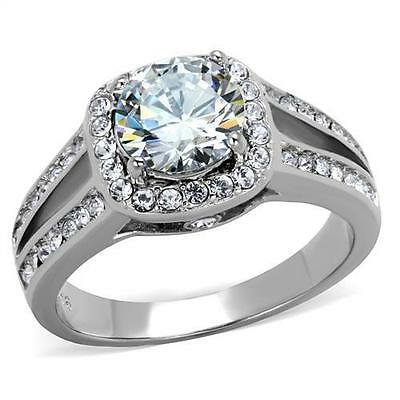 2.95ct  Halo Round CZ Stainless  Steel Engagement  Wedding Promise Cocktail Ring