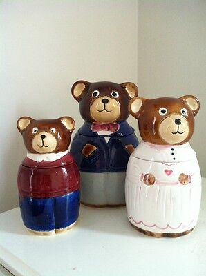 3 Bears Ceramic Canisters Made In Portugal