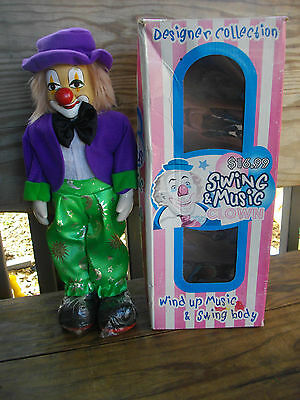 Vintage Clown Doll,Wind Up Music & Swing Body 13'' Porcelain in Box